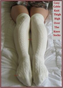 Cable Knit Thigh High Socks Womens Long Over The Knee School Girl Boot Cozy OTK