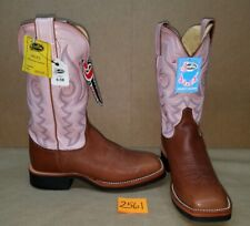 Womens Size 9 C JUSTIN Brown with Pink L7011 Cowboy Boots Square Toe