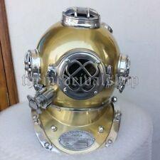 """Antique Vintage Diving Divers Helmet Solid Steel U.S Navy Mark V Full Size 18"""""""