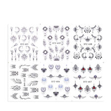 6 Sheets Nail Water Decals Necklace Moon Flower Nail Art Transfer Stickers Tips