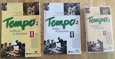 Tempo 2 method de franchise French course: text book, exercise book +2 cassettes