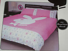 Playboy Bunny Logo Pink White 225 Thread Count King Bed Quilt Cover Set New