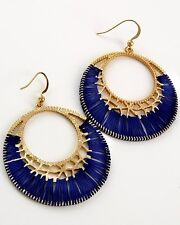 Woven Circle Drop Earrings Royal Bright Cobalt Blue and Gold Tone Thread Unique