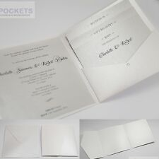ICE WHITE METALLIC SQUARE WEDDING INVITATION ENVELOPES DIY POCKET 150MM 6 x 6