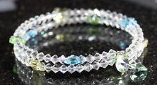 Armband Armreif mit Swarovski® Kristallen + Schmetterlinge gelb grün blau