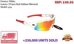 RayZor Fishing Sports Wrap Sunglasses Uv400 White Red Mirrored Lens RRP£49 *c