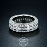18K White Gold Baguette Cut CZ Womens Eternity Wedding Unisex Band Promise Ring