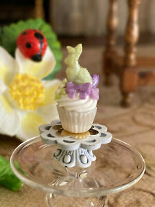 Vintage Miniature Dollhouse UK Artisan Sculpted Pastel Easter Frosted Cupcake