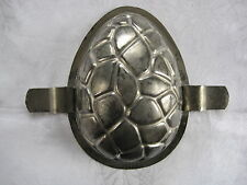 Antique / vintage tin half chocolate egg mould with crackled design - QUALITE 5