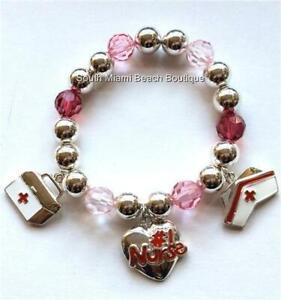 #1 Nurse Nursing Charm Bracelet LPN RN CNA Cap Heart Nurses Gift Silver Plated