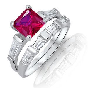 Ruby Red Princess / Baguette Eternity Genuine Sterling Silver Ring Set