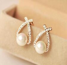 Women Crystal Rhinestone Pearl Ear Stud Earrings Gold Plated Fashion New Gift