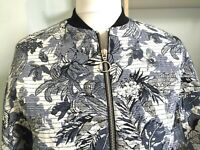 ZARA Blue Floral Zip Front Cropped Bomber Jacket Sz XS 8 Boxy Relaxed Embroidery