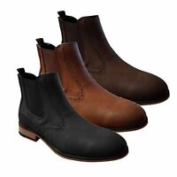 Mens Chelsea Boots Cavani Fox Leather Look Slip On Classic Mod Shoes