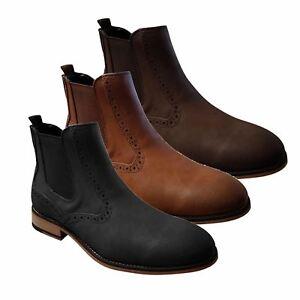 Mens Chelsea Boots Cavani Fox Leather Look Slip On Classic Mod Shoes