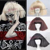 Cos Wig Model Head Lady Gaga Broom Head Fluffy Short Straight Cosplay Wig.