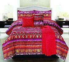MOROCCO COMFORTER SET 5 PC TWIN BOHO CORAL RED PINK SHAM PILLOW QUILTED THROW