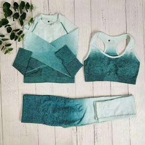 Womens Gym Outfit Leggings Sports Bra Crop Top Size M Green 3 piece Ladies Set