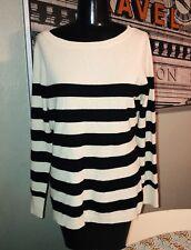 Garnet Hill PM Medium 100% Cashmere Black Ivory Striped Long Sleeve Sweater