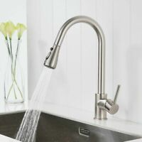 Brushed Nickel Kitchen Sink Faucet Pull Out Sprayer Single Handle Mixer Tap