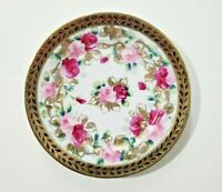Antique Japanese Nippon Hand-Painted Cobalt Blue and Gold trim Plate with Roses