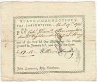 Colonial Note 1783 Connecticut Captain Daniel Allen Pay Table Warrant (£17/18/-)