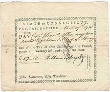 Colonial Note 1783 Connecticut Captain Daniel Allen Pay Table Warrant