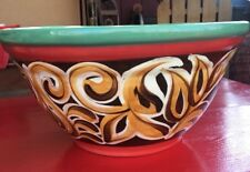 "Very Rare VICKI CARROLL Signed LARGE  14"" Pottery Ceramic Bowl  2000 BEAUTIFUL"