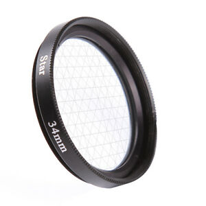 34mm Four 6 Point 6PT Cross Star Effect Filter For Canon Nikon Camera Lens f