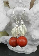 Schaumkorallen Ohrringe mit silbernem Zwischenteil