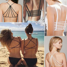 NUOVE donne sexy Crop Top Strap Vest cut-out Beach canotte Bralette Bustino