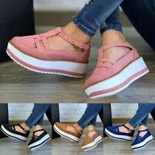 T-Bar Sandalias de mujer de verano señoras correa de tobillo Casual Zapatos De Salón Plataforma Tamaños