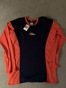 VINTAGE NIKE TRAINING SHIRT TOP DENVER BRONCOS LONG SLEEVE ELWAY LARGE-NWT