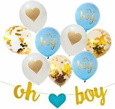 """New Baby Shower Decorations for Boy Blue and Gold Baby Party Supplies """"Oh Boy"""""""