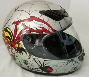 Full Face Helmet Size Large  Black Red Silver & Yellow Hawk DOT Sold as is