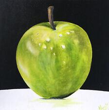 Green Apple, oil painting on canvas, original, Pop Art, Still Life, Food Art