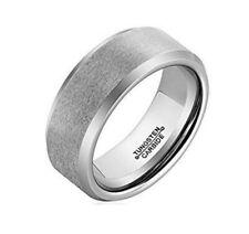 4mm 6mm Tungsten Ring Brushed Beveled Silver Design Wedding Band
