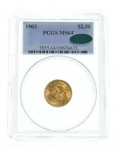 MS64 1903 $2.50 Liberty Head Gold Quarter Eagle - CAC - Graded PCGS *4841