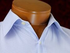 Ike Behar Men Dress Shirt Size 15.5 34 French Cuff Cotton Blue Striped