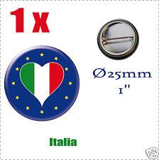 Badge Ø25mm Pays de l'europe des 28, drapeau en forme de coeur IT ITALIE