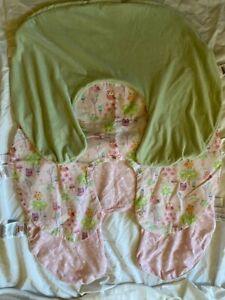 Lot 3 Boppy Feeding Pillow Covers Green Velour Pink Stripe Dot Owl Baby Girl