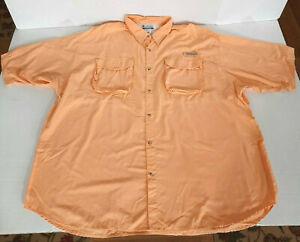 Columbia PFG Short Sleeve UPF 30 Nylon Vented Fishing Shirt Men Size 4XL Orange
