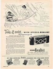 1952 Stereo Realist 3D 3-D 35mm Camera art Canoeing Vintage Print Ad