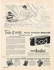 1952 Stereo Realist 3D 3-D 35mm Camera art Canoeing Vtg Print Ad