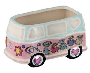 Hippie Peace Van / Bus Planter Pot Ceramic Garden Vase--Basket-Candy Dish