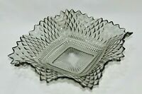 Federal Glass TRADITIONS Smoke Grey Gray Square Candy Dish Bowl Diamond Ruffle