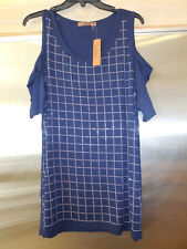Belldini NEW Cold Shoulder Embellished Top Plus 1X NWT Tunic Blouse Navy blue