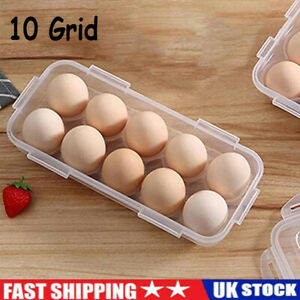 10 Egg Holder Boxes Tray Storage Box Eggs Refrigerator Container For Microwave