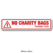 No Charity Bags - Front Door Letter Box Sticker - Red Fully Weatherproof Sign