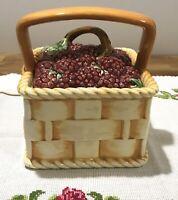 RARE French Antique Sarreguemines Majolica Berries Basket Lidded Box Cookie Jar